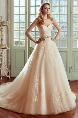 Sweetheart A-Line Gown With Beaded Belt And Pleated Bodice
