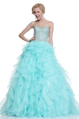 Ball Gown Sweetheart Organza Zipper Dress With Cascading Ruffles And Beading
