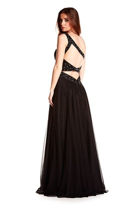 Long One-Shoulder Beaded Chiffon Prom Dress With Waist Jewellery And Straps