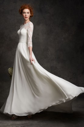 Sheath 3-4-Sleeve Scoop-Neck Maxi Chiffon Wedding Dress With Lace And Corset Back