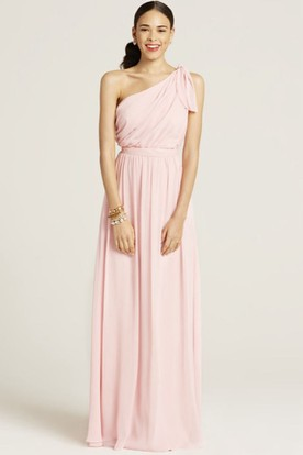 One-Shoulder Sleeveless Ruched Chiffon Bridesmaid Dress