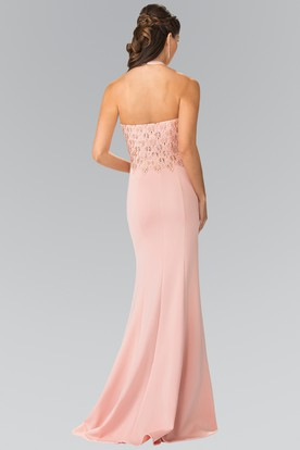 Sheath Long Scoop-Neck Sleeveless Jersey Backless Dress With Sequins