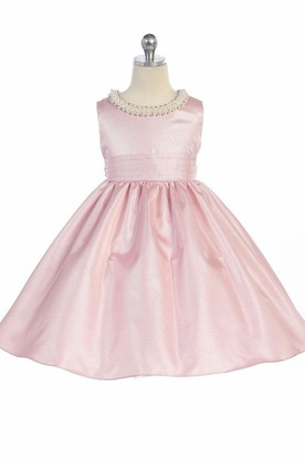 Tea-Length Pleated Sleeveless Flower Girl Dress