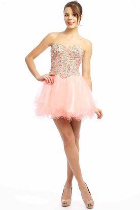 A Line Sweetheart Short Mini Beaded Sleeveless Tulle Prom Dress With Ruffles