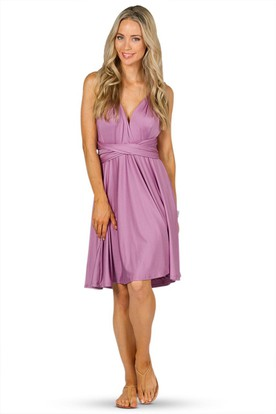V-Neck Knee-Length Ruched Jersey Convertible Bridesmaid Dress With Straps
