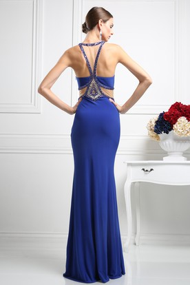 Sheath Floor-Length Halter Sleeveless Jersey Dress With Beading