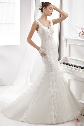 Sweetheart Mermaid Wedding Gown With Crisscross Nest and Low-V Back