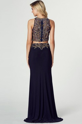 Floor-Length High Neck Sleeveless Crystal Jersey Prom Dress