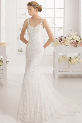Long Straps Appliqued Lace Wedding Dress With Sweep Train And V Back
