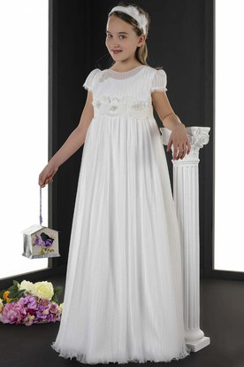 A-Line Floor-Length Scoop-Neck Short-Sleeve Ruched Tulle Flower Girl Dress With Flower