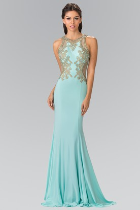 Sheath V-Neck Sleeveless Jersey Illusion Dress With Beading And Pleats