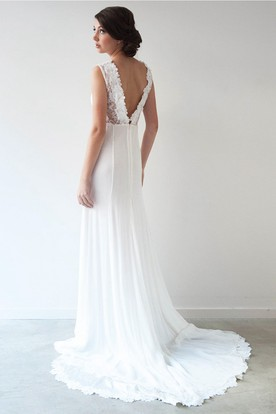 Sheath High Neck Split-Front Sleeveless Floor-Length Chiffon Wedding Dress With Appliques And Pleats