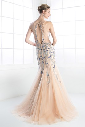 Mermaid Long Scoop-Neck Sleeveless Tulle Illusion Dress With Beading And Ruffles