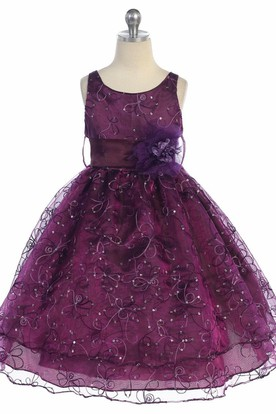 Tea-Length Embroideried Floral Sequins&Organza Flower Girl Dress With Ribbon