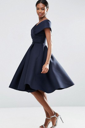 A-Line V-Neck Knee-Length Ruched Satin Bridesmaid Dress