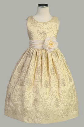 Tea-Length Embroideried Floral Taffeta Flower Girl Dress
