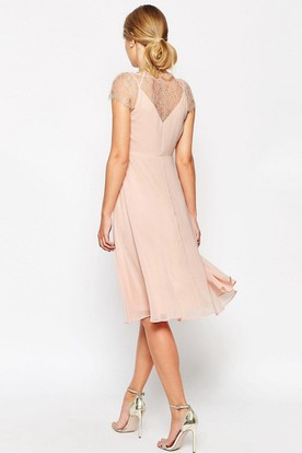 A-Line Knee-Length Ruched Cap Sleeve V-Neck Chiffon Bridesmaid Dress