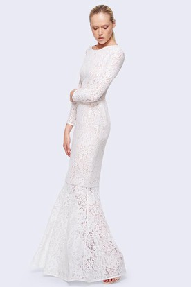 Sheath Floor-Length Jewel-Neck Long-Sleeve Lace Wedding Dress With Straps