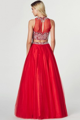 A-Line Sleeveless High Neck Beaded Tulle Prom Dress With Illusion Back