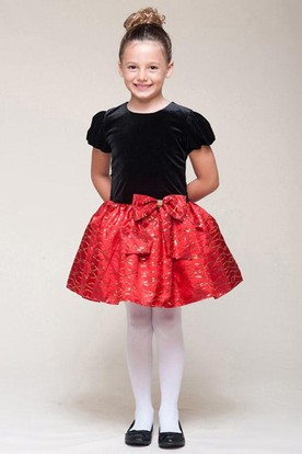 Short Bowed Sequins Flower Girl Dress With Tiers