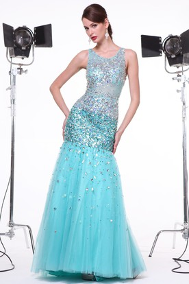 Mermaid Long V-Neck Sleeveless Tulle Illusion Dress With Beading And Sequins