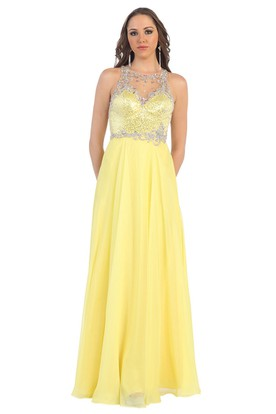 A-Line Long Jewel-Neck Sleeveless Chiffon Illusion Dress With Beading And Sequins