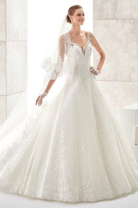 Sweetheart A-line Wedding Gown with Floral Straps and Low-v Back