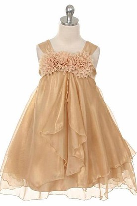 Straps Tea-Length Tiered Empire Chiffon Flower Girl Dress
