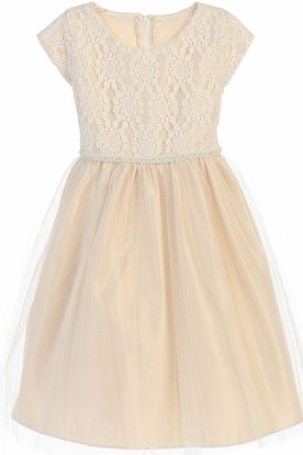 Tea-Length Sequined Tulle&Lace Flower Girl Dress With Embroidery