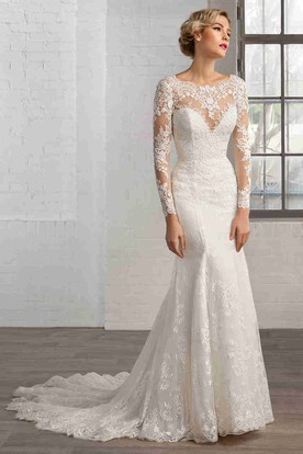Sheath Scoop-Neck Floor-Length Long-Sleeve Lace Wedding Dress With Appliques And Keyhole