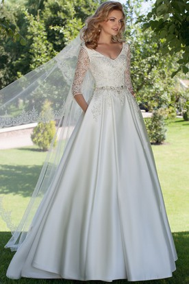A-Line V-Neck Appliqued 3-4 Sleeve Satin Wedding Dress
