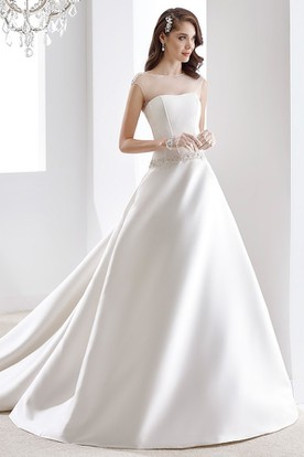 A-line Illusion Satin Wedding Dress with Beaded Belt and Keyhole Back