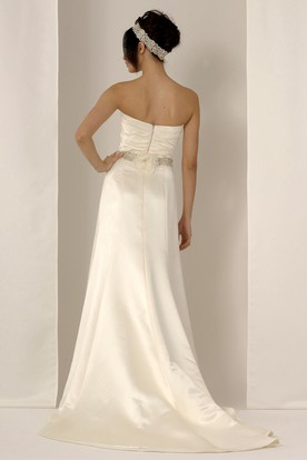 Sheath Long Strapless Satin Wedding Dress With Waist Jewellery And Zipper