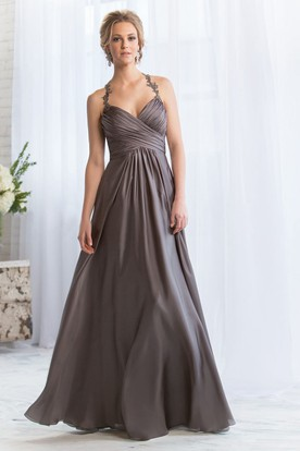 Halter A-Line Bridesmaid Dress With Appliques And Crisscross Ruching