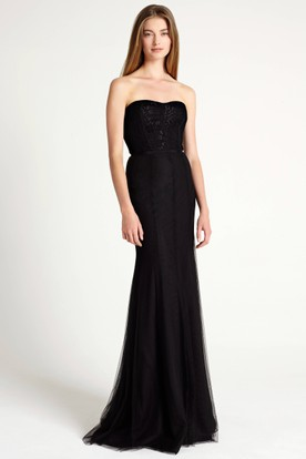 Maxi Strapless Appliqued Tulle Bridesmaid Dress