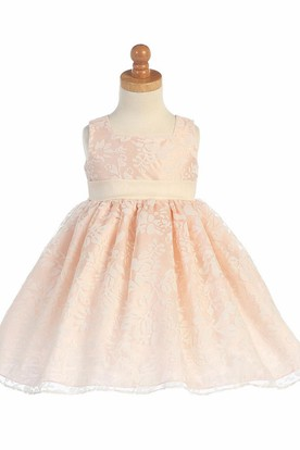 Floral Tea-Length Empire Floral Pleated Organza Flower Girl Dress With Sash