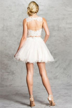 Two-Piece A-Line Short Scoop-Neck Sleeveless Tulle Illusion Dress With Appliques And Ruffles