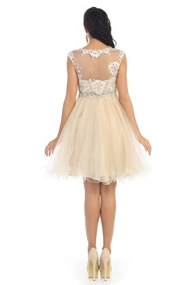 A-Line Mini Jewel-Neck Cap-Sleeve Tulle Illusion Dress With Appliques And Waist Jewellery