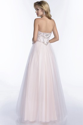 Tulle Sweetheart A-Line Prom Dress With Beaded Bodice And Irregular Waistline