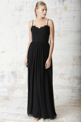 Ruched Sleeveless Spaghetti Chiffon Bridesmaid Dress