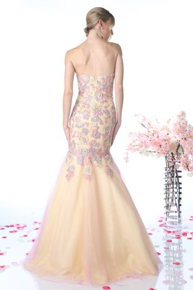 Muti-Color Mermaid Maxi Sweetheart Sleeveless Backless Dress With Appliques And Flower