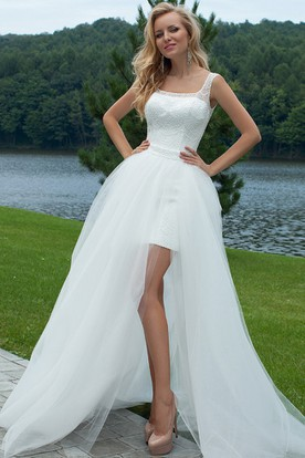 Square Floor-Length Lace Tulle Wedding Dress With Bow And Illusion