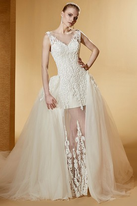 Unique Cap Sleeve Lace Bridal Gown With Illusive Design And Side Ruffles