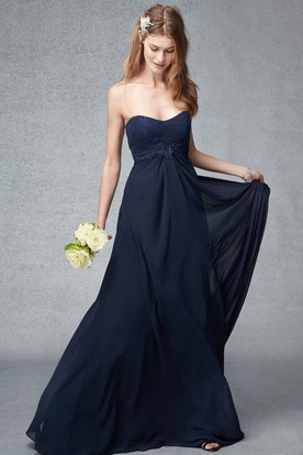 Appliqued Empire Sweetheart Sleeveless Chiffon Bridesmaid Dress