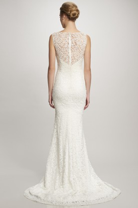 Bateau Long Lace Wedding Dress With Sweep Train And Illusion