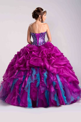 Lace-Up Back Sweetheart Ball Gown With Sequined Corset And Ruffles