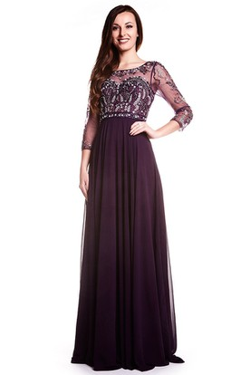 A-Line Floor-Length Bateau-Neck Beaded 3-4-Sleeve Chiffon Prom Dress With Pleats