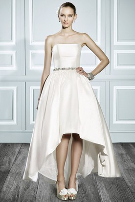 High-Low Strapless Jeweled Satin Wedding Dress With V Back