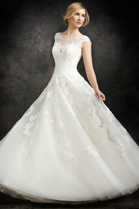 A-Line Floor-Length Cap-Sleeve Scoop-Neck Tulle Wedding Dress With Appliques And Illusion