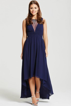 High-Low Sleeveless Ruched Bateau Neck Chiffon Bridesmaid Dress With Beading